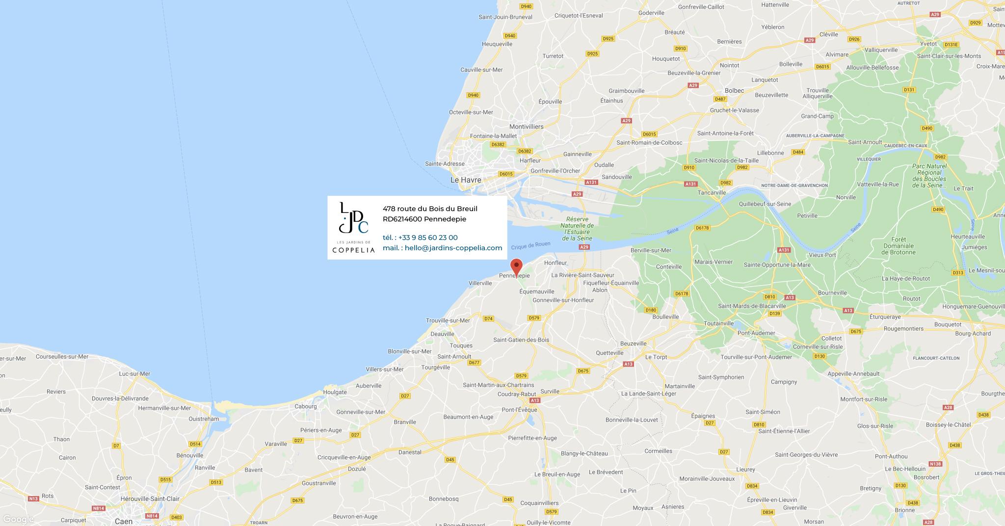 Acces à l'hôtel 4 étoiles Jardins Coppélia en Normandie